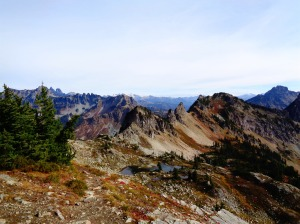 Rocky peaks over Alta tarns