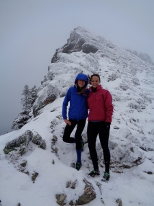Emilie and I in front of the icy scramble