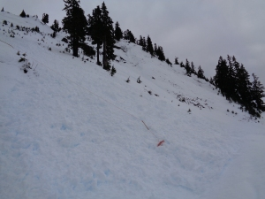 Avalanche debris wiped out some trail markers