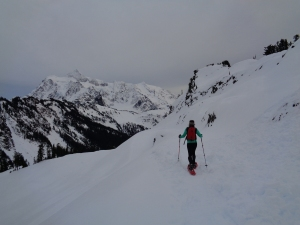One more - trekking towards Shuksan on one of the road's switchbacks