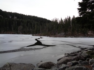 Cracks in the ice along Mason Lake