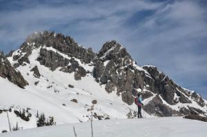 Standing beneath Ingalls Peaks