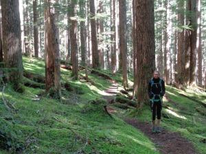 Emilie along the dirt trail
