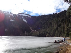 Relaxing in the sun by Boulder Lake