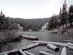 Snow covered Mason Lake