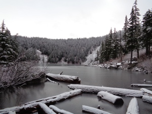 Snow covered Mason Lake
