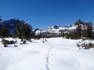 Our footsteps leading towards the pass