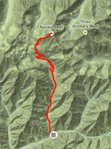 Strava Map of Navaho Peak trail