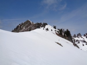 Looking up the ridge at a bump along the ridge to Alta