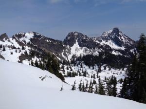 Lila Lake and Alta tarns down below