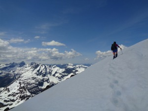 Shelby just below a cornice on the ridge