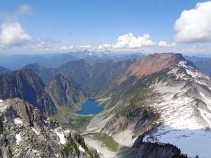 Copper Lake and the back of Big Four (the red peak) with Three Fingers and Whitehorse in the background