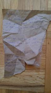 Hobo burrito wrapper note