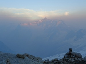 Mt. Forbidden and Moraine Lake hidden by haze