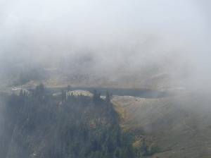 Foggy Lake Ann from near the bottom of the Chimneys