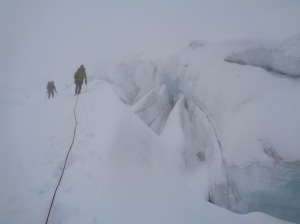 Crevasses and moderate visibility (not the worst we had all trip...)
