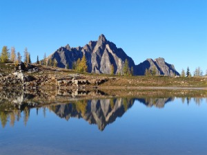 Mt. Hardy reflected in Upper Snowy Lake