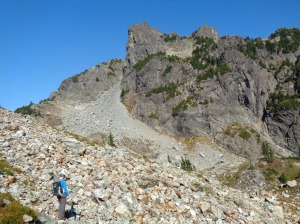Aim for that highest slanted strip of trees below the rocky outcropping in center frame